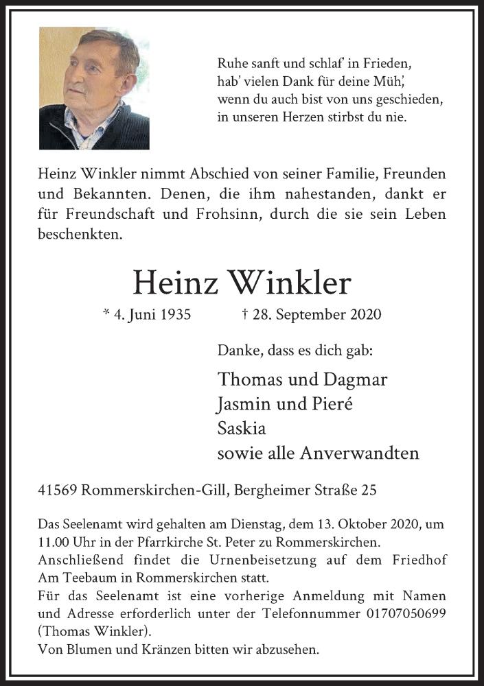 Traueranzeige für Heinz Winkler vom 03.10.2020 aus Rheinische Post