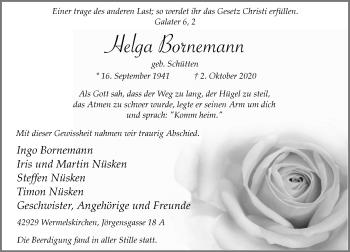 Traueranzeige von Helga Bornemann von Rheinische Post