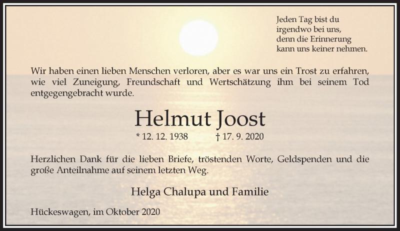 Traueranzeige für Helmut Joost vom 17.10.2020 aus Rheinische Post