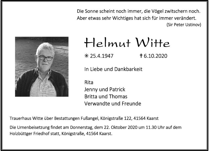 Traueranzeige für Helmut Witte vom 17.10.2020 aus Rheinische Post