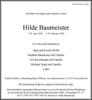 Traueranzeige von Hilde Baumeister von Rheinische Post