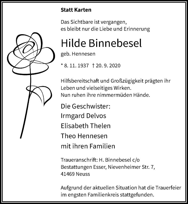Traueranzeige für Hilde Binnebesel vom 07.10.2020 aus Rheinische Post