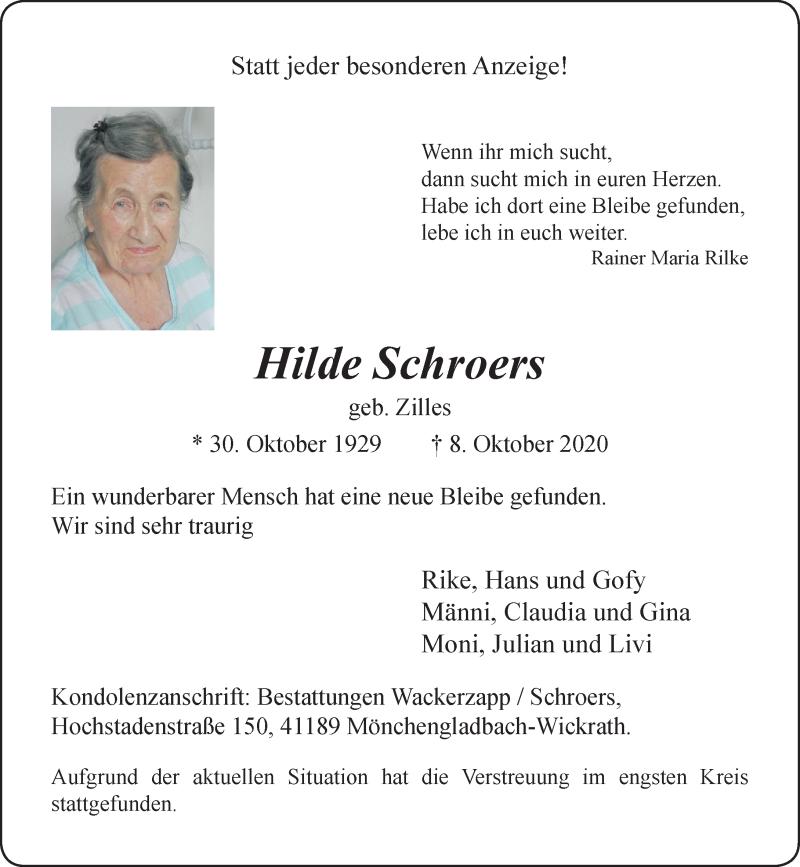Traueranzeige für Hilde Schroers vom 17.10.2020 aus Rheinische Post