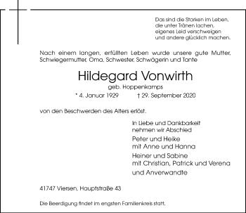 Traueranzeige von Hildegard Vonwirth von Rheinische Post