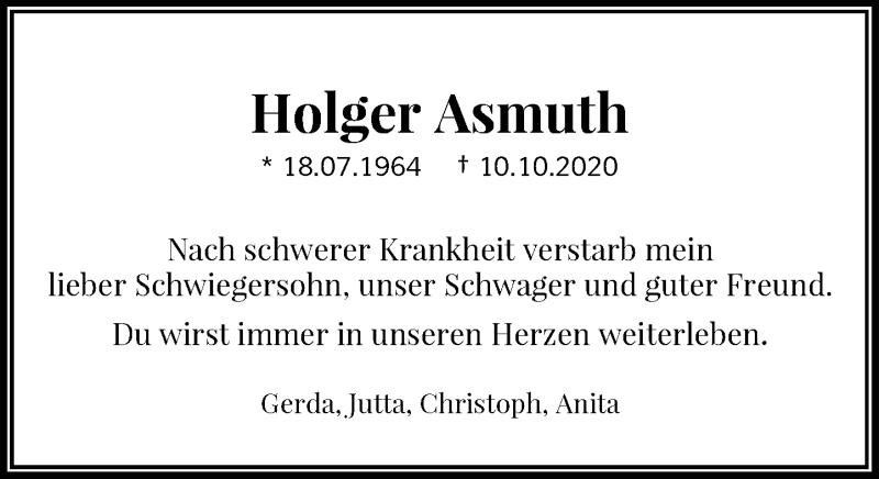 Traueranzeige für Holger Asmuth vom 14.10.2020 aus Rheinische Post