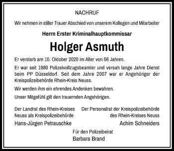 Traueranzeige von Holger Asmuth von Rheinische Post
