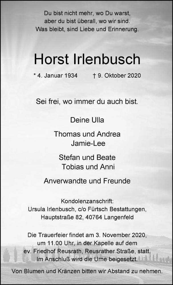 Traueranzeige für Horst Irlenbusch vom 24.10.2020 aus Rheinische Post