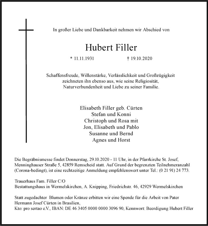 Traueranzeige für Hubert Filler vom 28.10.2020 aus Rheinische Post