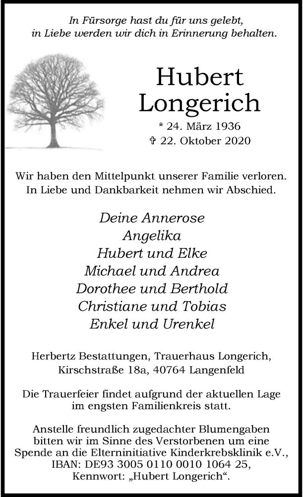 Traueranzeige für Hubert Longerich vom 28.10.2020 aus Rheinische Post