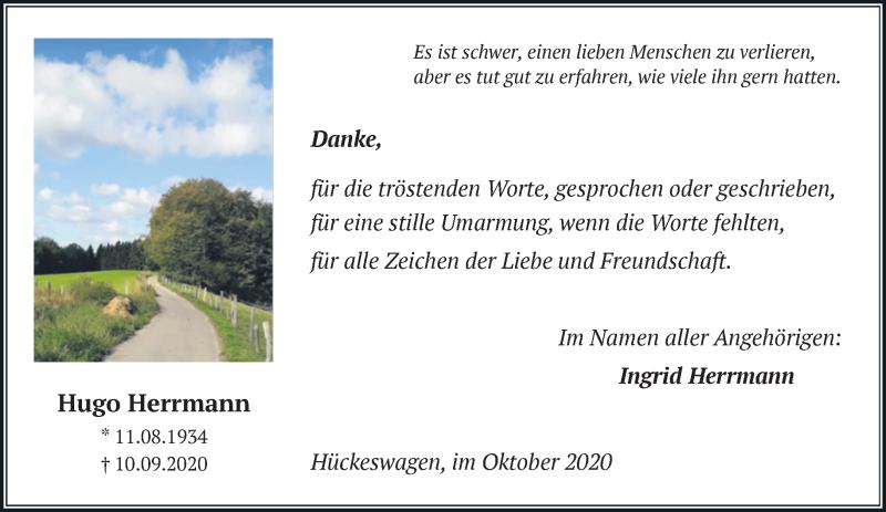 Traueranzeige für Hugo Herrmann vom 10.10.2020 aus Rheinische Post
