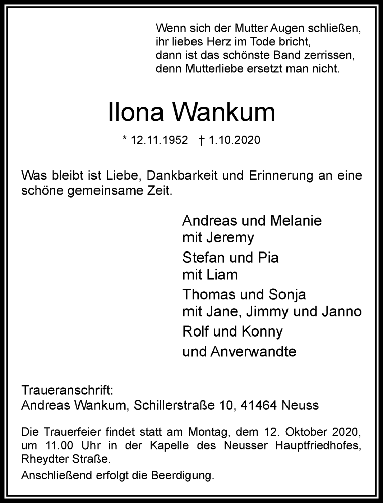 Traueranzeige für Ilona Wankum vom 07.10.2020 aus Rheinische Post