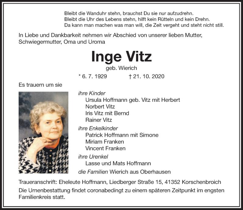 Traueranzeige für Inge Vitz vom 31.10.2020 aus Rheinische Post