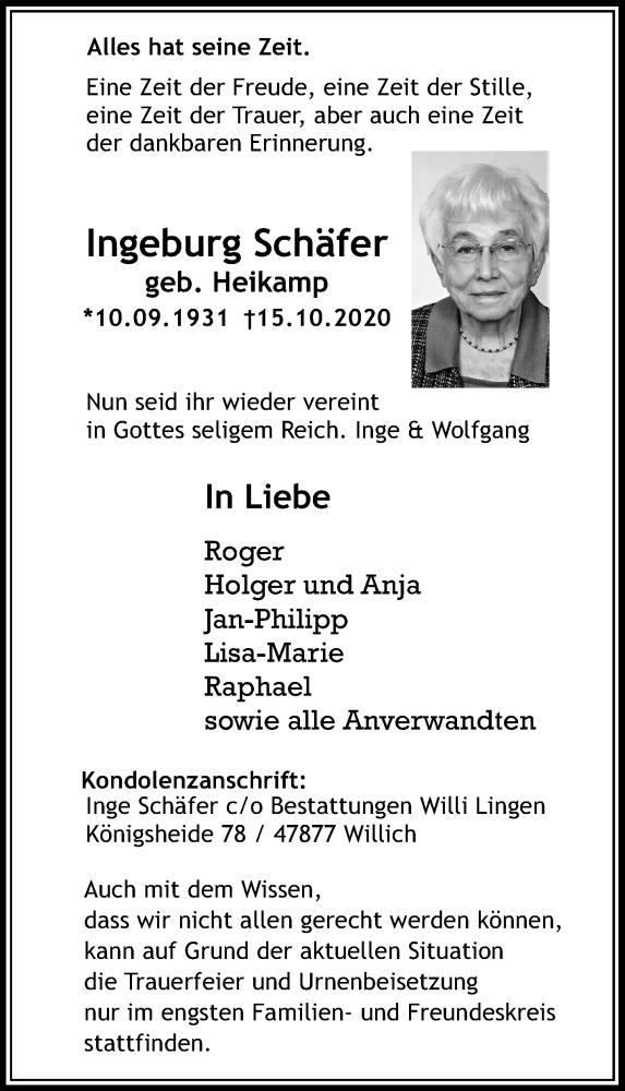 Traueranzeige für Ingeburg Schäfer vom 24.10.2020 aus Rheinische Post