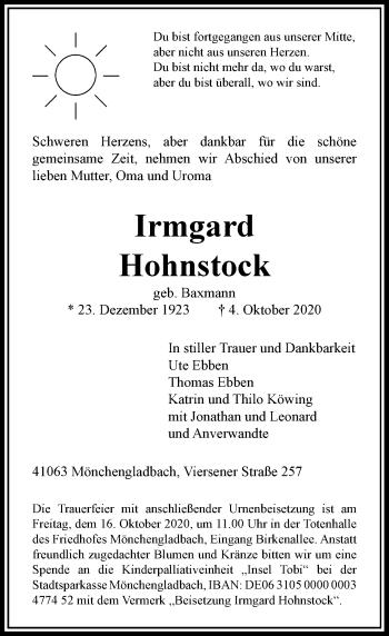Traueranzeige von Irmgard Hohnstock von Rheinische Post