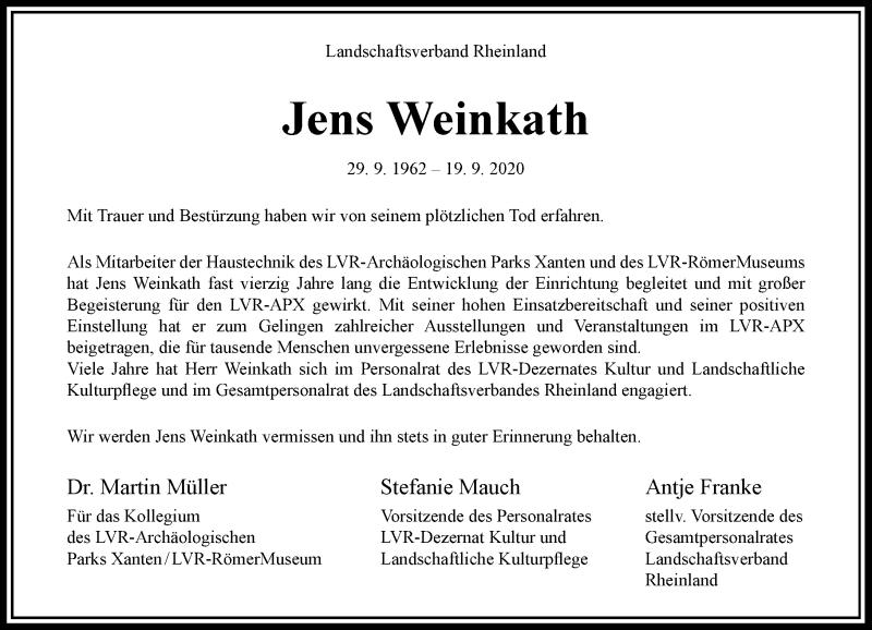 Traueranzeige für Jens Weinkath vom 10.10.2020 aus Rheinische Post