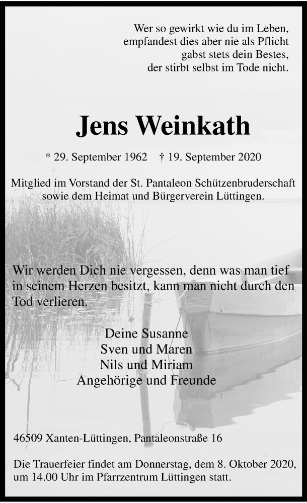 Traueranzeige für Jens Weinkath vom 02.10.2020 aus Rheinische Post