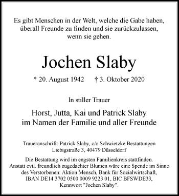 Traueranzeige von Jochen Slaby von Rheinische Post