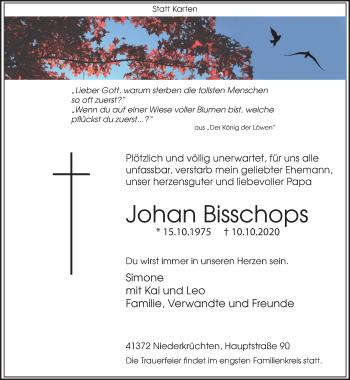Traueranzeige von Johan Bisschops von Rheinische Post