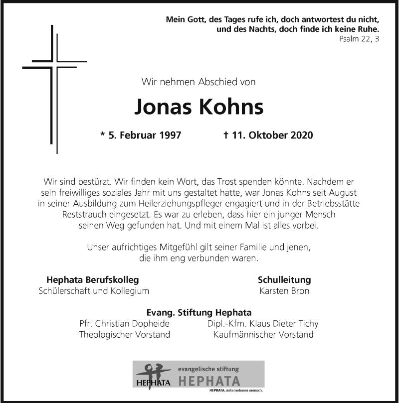 Traueranzeige für Jonas Kohns vom 17.10.2020 aus Rheinische Post