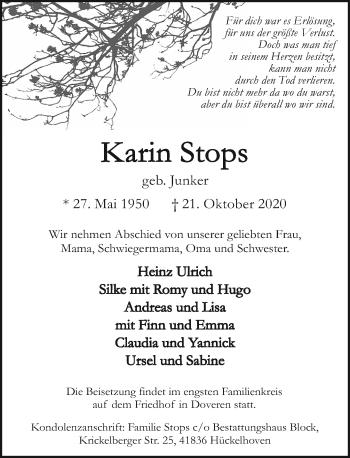 Traueranzeige von Karin Stops von Rheinische Post