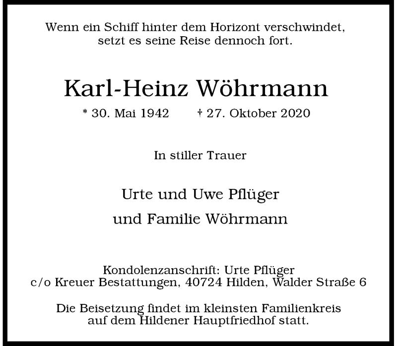 Traueranzeige für Karl-Heinz Wöhrmann vom 31.10.2020 aus Rheinische Post