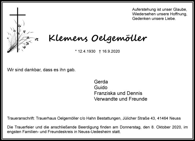 Traueranzeige für Klemens Oelgemöller vom 03.10.2020 aus Rheinische Post