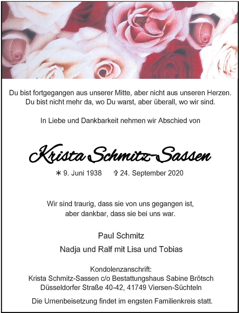 Traueranzeige für Krista Schmitz-Sassen vom 03.10.2020 aus Rheinische Post