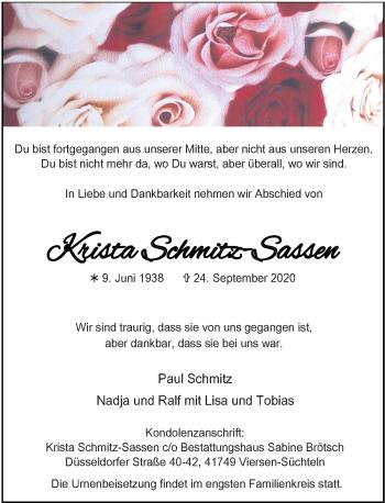 Traueranzeige von Krista Schmitz-Sassen von Rheinische Post