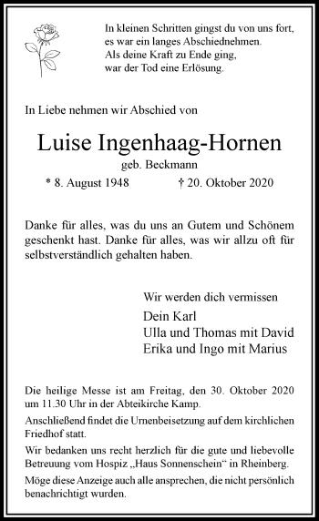 Traueranzeige von Luise Ingenhaag-Hornen von Rheinische Post