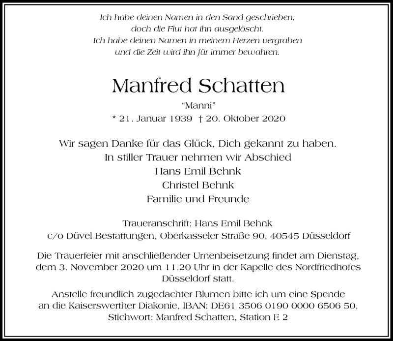 Traueranzeige für Manfred Schatten vom 24.10.2020 aus Rheinische Post