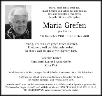 Traueranzeige von Maria Grefen von Rheinische Post