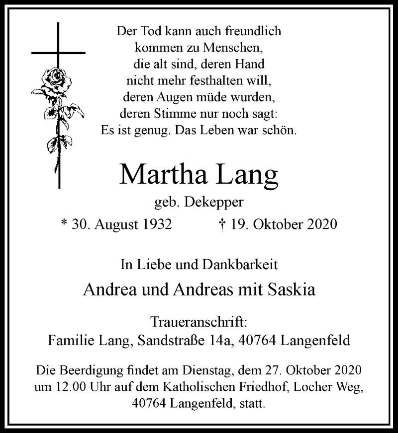 Traueranzeige für Martha Lang vom 24.10.2020 aus Rheinische Post