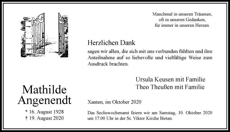 Traueranzeige für Mathilde Angenendt vom 05.10.2020 aus Rheinische Post