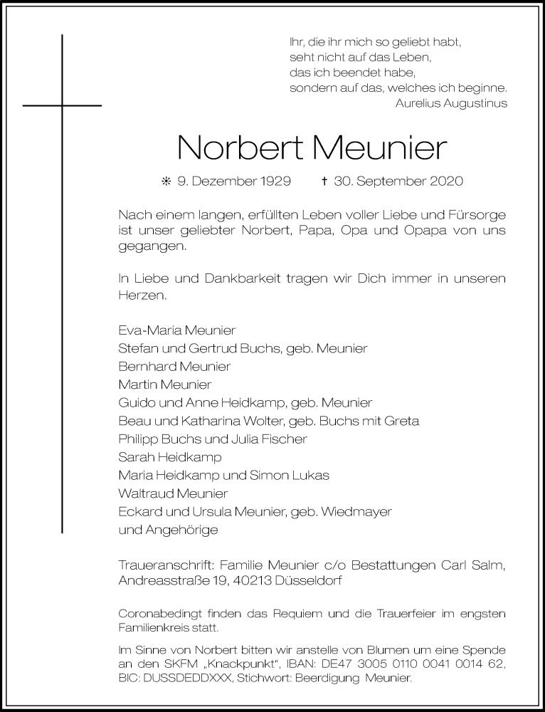 Traueranzeige für Norbert Meunier vom 10.10.2020 aus Rheinische Post