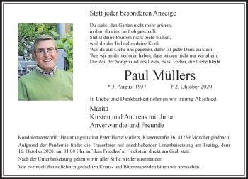 Traueranzeige von Paul Müllers von Rheinische Post