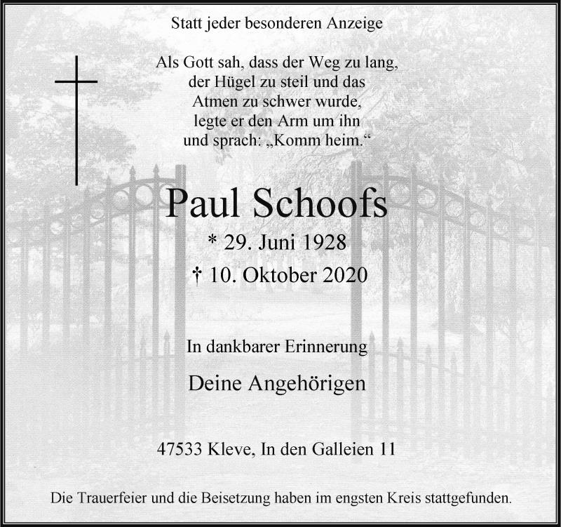 Traueranzeige für Paul Schoofs vom 17.10.2020 aus Rheinische Post