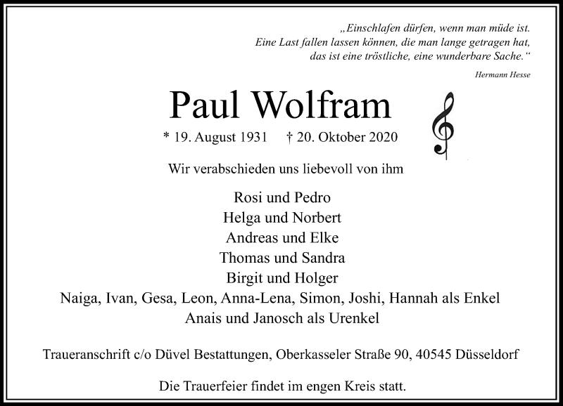 Traueranzeige für Paul Wolfram vom 24.10.2020 aus Rheinische Post