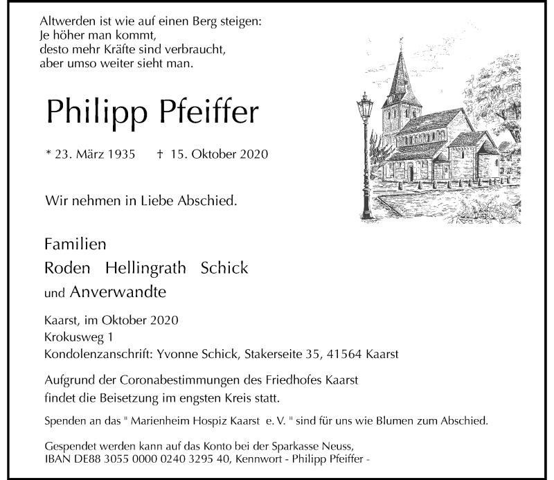 Traueranzeige für Philipp Pfeiffer vom 24.10.2020 aus Rheinische Post