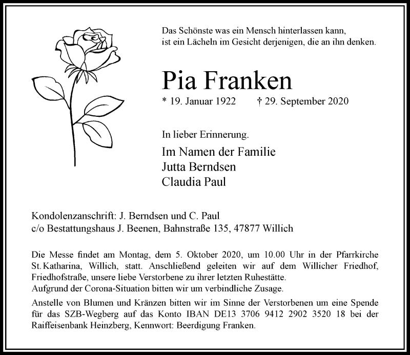Traueranzeige für Pia Franken vom 03.10.2020 aus Rheinische Post