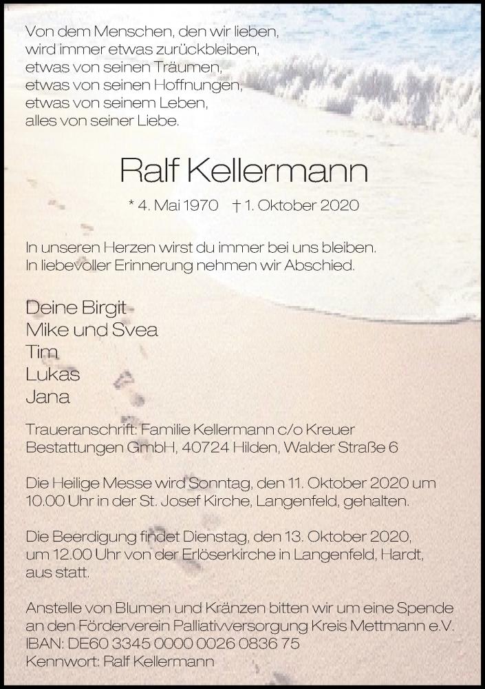 Traueranzeige für Ralf Kellermann vom 10.10.2020 aus Rheinische Post