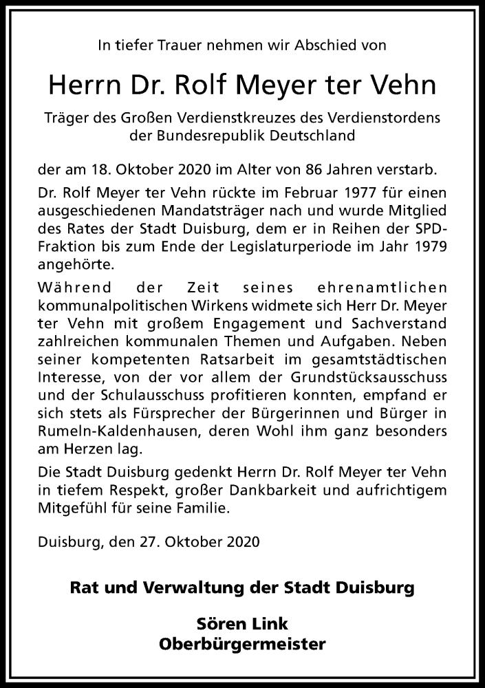 Traueranzeige für Rolf Meyer ter Vehn vom 29.10.2020 aus Rheinische Post