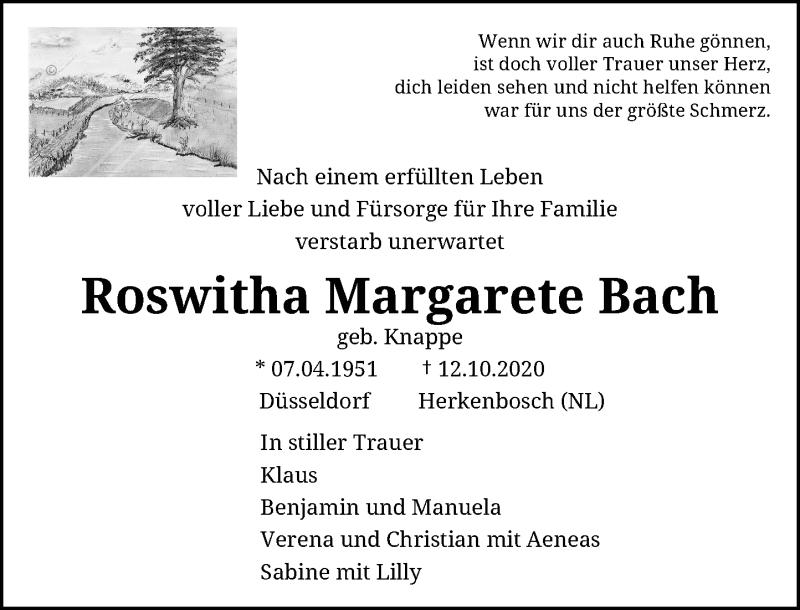 Traueranzeige für Roswitha Margarete Bach vom 17.10.2020 aus Rheinische Post