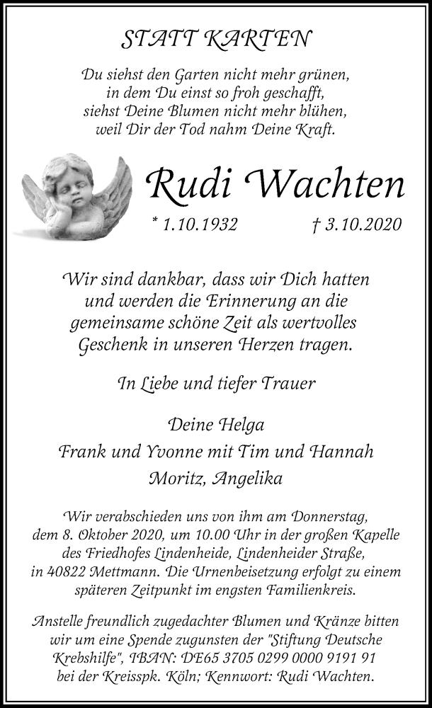 Traueranzeige für Rudi Wachten vom 07.10.2020 aus Rheinische Post