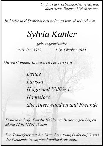 Traueranzeige von Sylvia Kahler von Rheinische Post