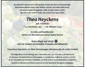 Traueranzeige von Thea Heyckens von Rheinische Post
