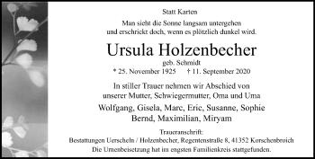 Traueranzeige von Ursula Holzenbecher von Rheinische Post