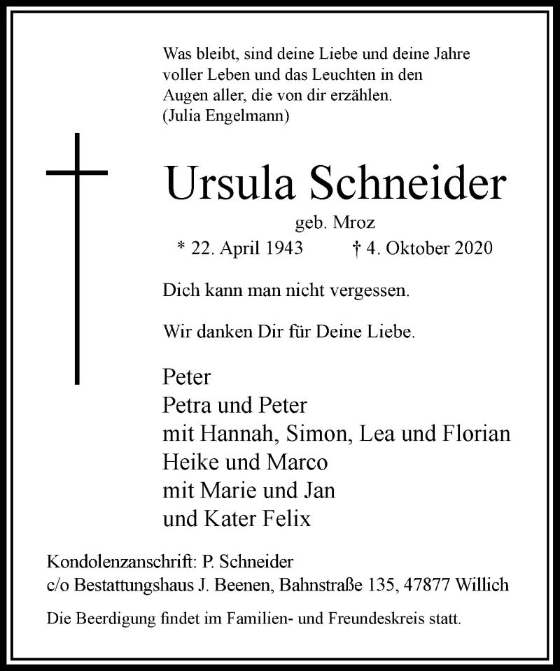 Traueranzeige für Ursula Schneider vom 17.10.2020 aus Rheinische Post