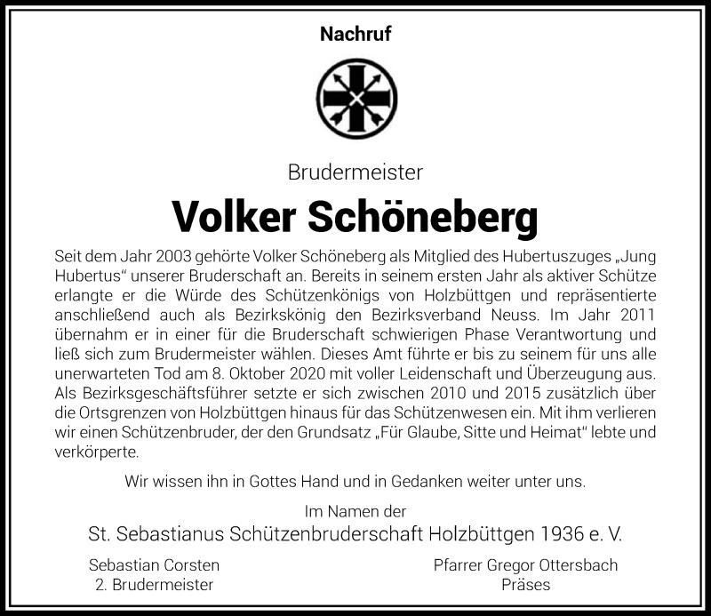 Traueranzeige für Volker Schöneberg vom 17.10.2020 aus Rheinische Post