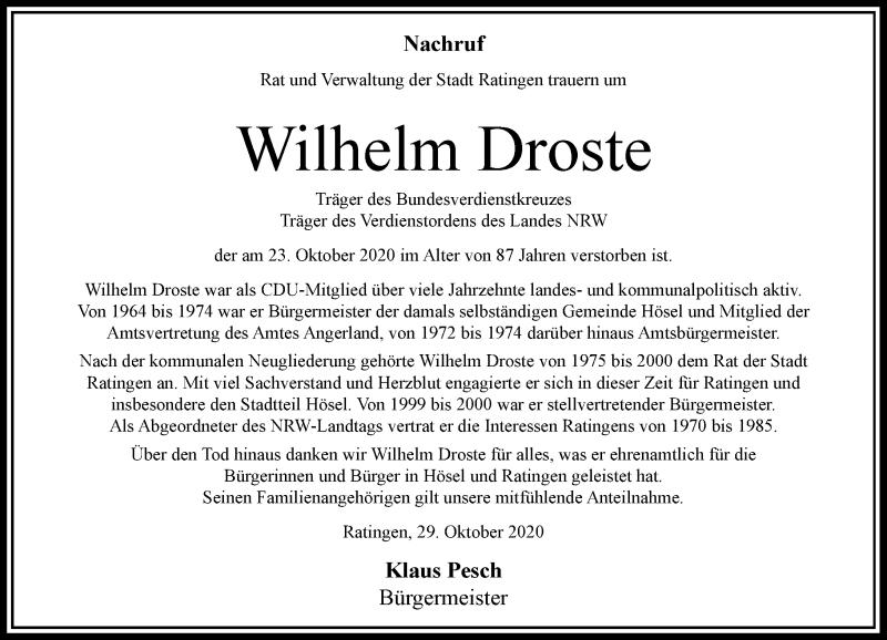 Traueranzeige für Wilhelm Droste vom 31.10.2020 aus Rheinische Post