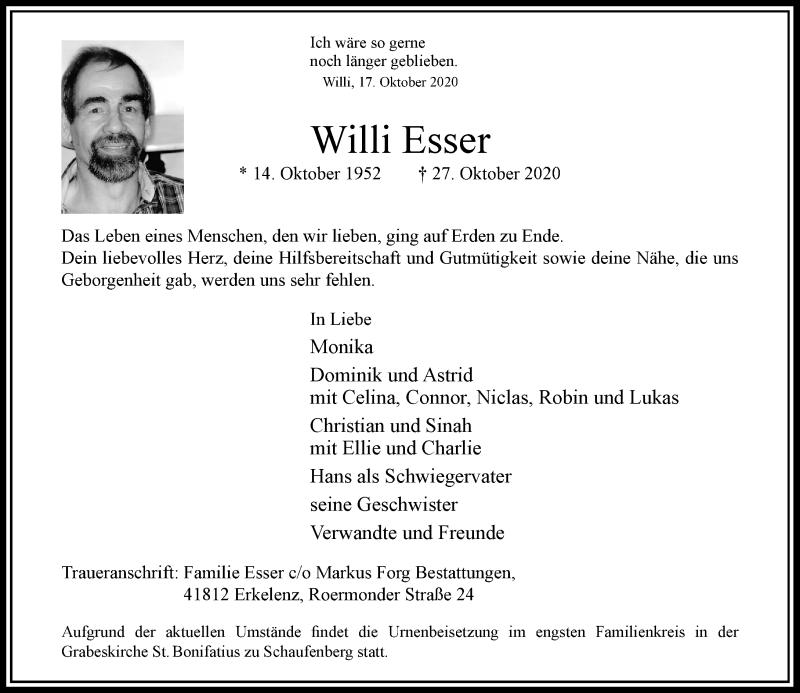 Traueranzeige für Willi Esser vom 31.10.2020 aus Rheinische Post